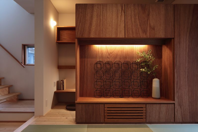 イメージ:余計な家具を置かないようにテレビボードも造作で